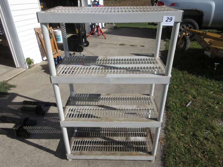 "Four Tier Plastic Storage Shelf, 35"" x 18"" x 55 1/2"" High"