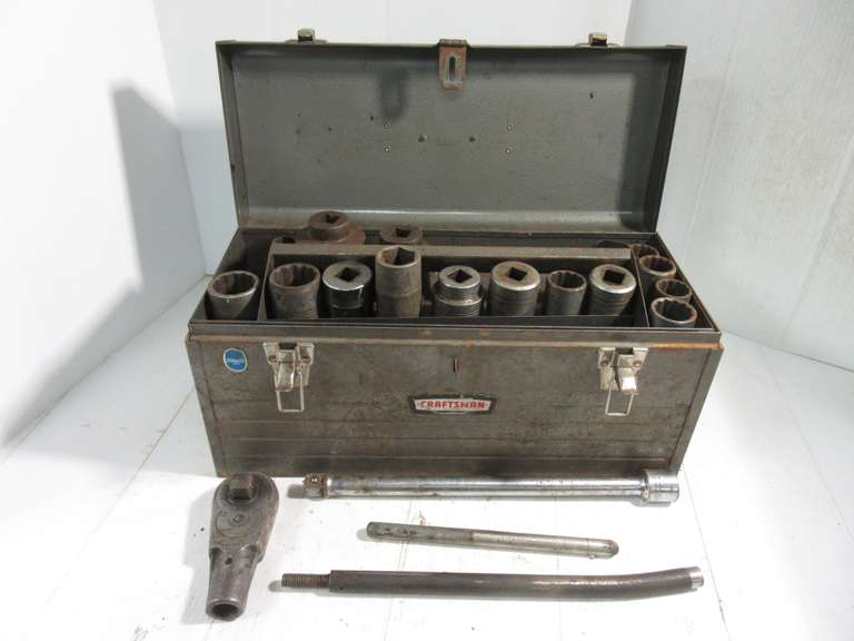 Craftsman Metal Tool Box with Large Sockets.  Snap-On Ratchet Head and Mixed Brand Sockets