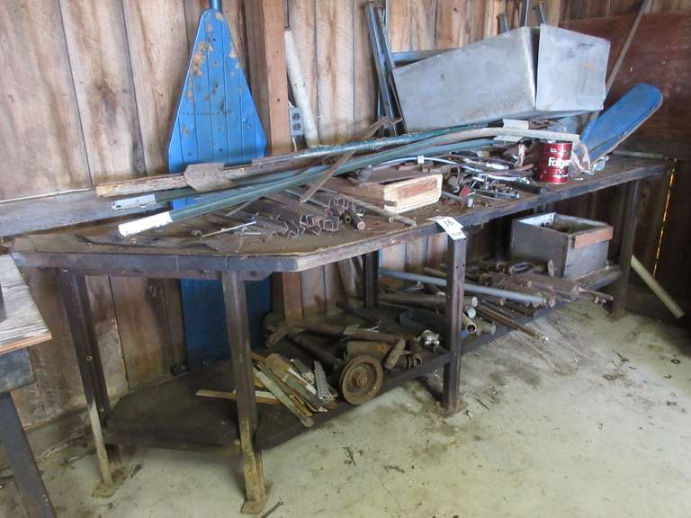 "Large Heavy Duty Tool Bench with Large Assortment of Scrap Iron and Metal Pieces, 9' Long x 30"" Deep x 33"" High"