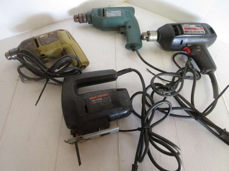 Powertools Including (3)-Electric Drills and (1)-Jigsaw, Believed to Work