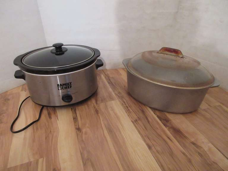 Old Aluminum Ware Roaster and a Crock Pot