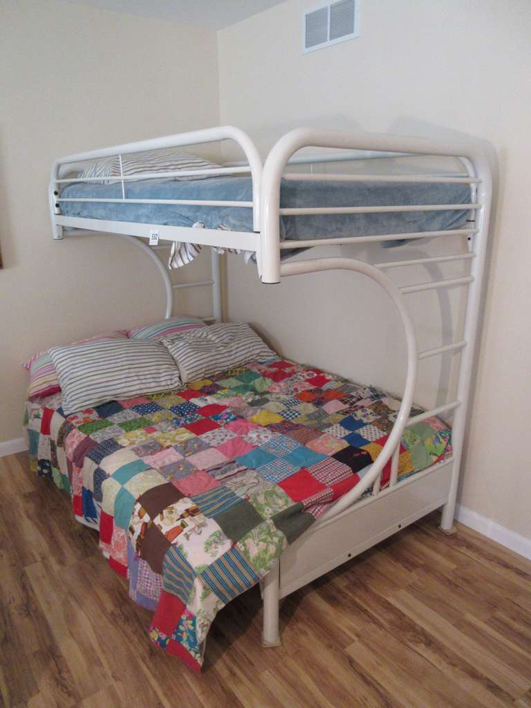 "Metal Futon/Full Bed with Twin Bunk Bed, 79"" x 54"" x 64"" High Overall"
