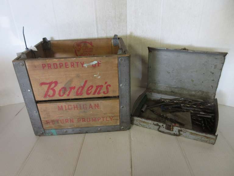 Vintage Borden's Michigan Crate Full of Drill Bits