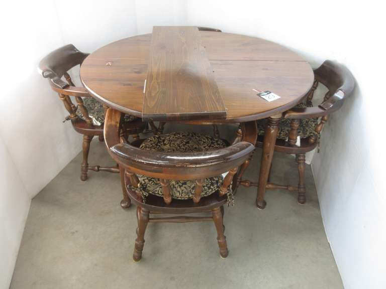 Ethan Allen Walnut Table with Leaf, (4) Chairs, and (4) Chair Pads