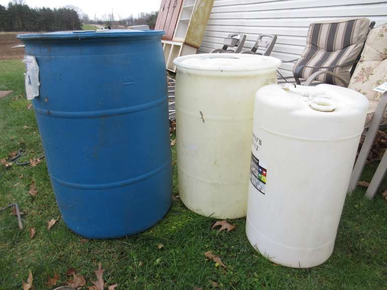 (3)-Poly Barrels.  The Smalller Barrels are Missing Caps