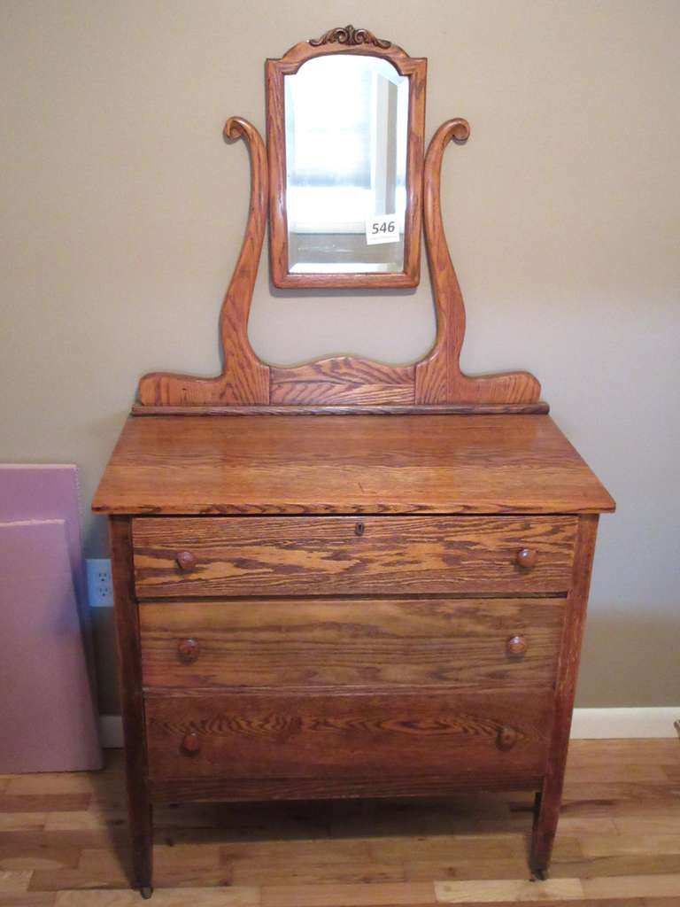 "Antique Oak Dresser with Mirror, 36"" x 19"" x 67"" High"