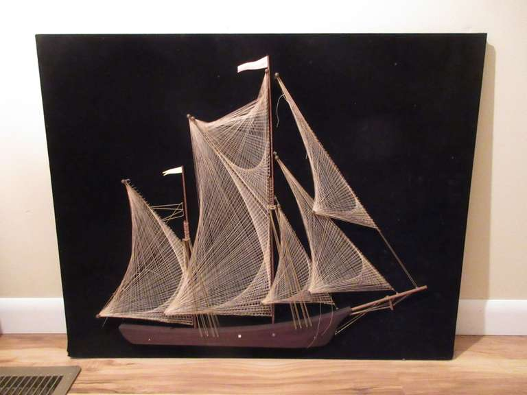 "Old Thread Art Ship Picture, 30"" x 24"""