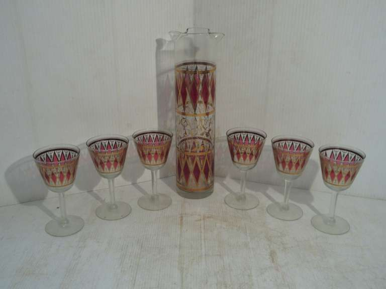 "Old 7-Piece Ruby and Gold Flashed Drink set, 12"" High"