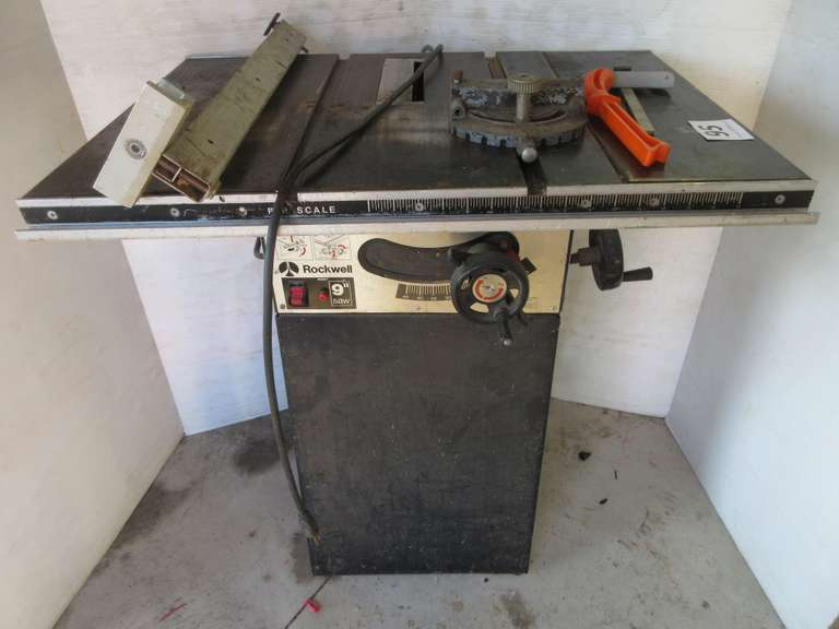 "Rockwell 9"" Table Saw with Extra Parts, Works"