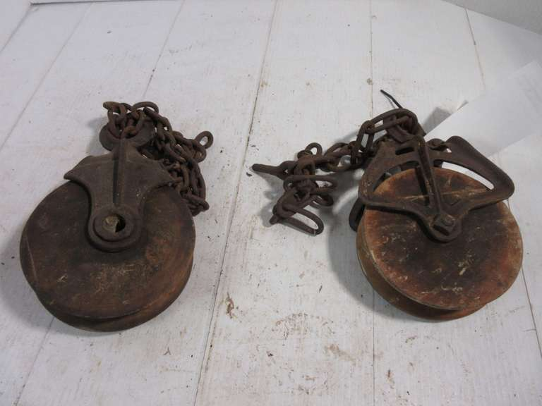 "(2)-Vintage Wood Pulleys, 5 1/2"" Diameter"