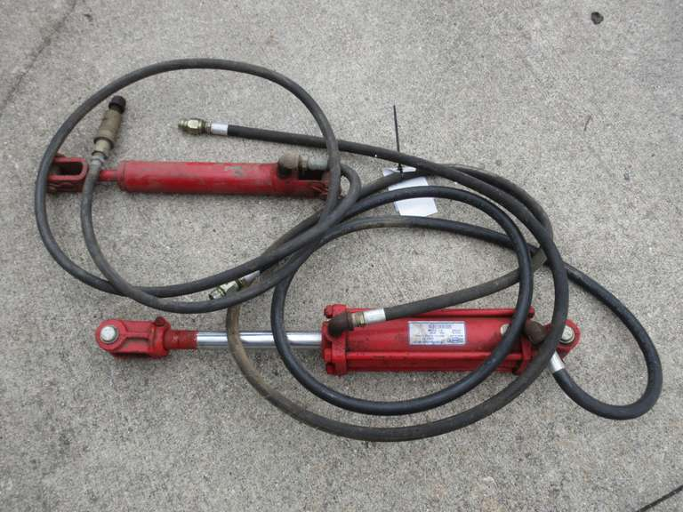 "(2)-Hydraulic Cylinders.  One is Cross 3"" Bore x 8"" Stroke.  The Other is Approximately 2"" Bore x 10"" Stroke"