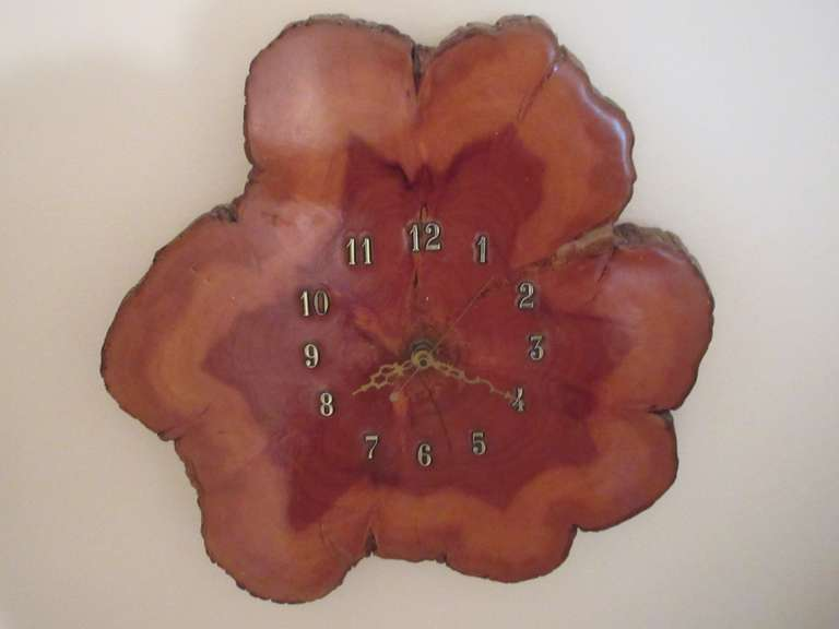 "Wood Slab Battery Operated Clock, 14"" Wide"