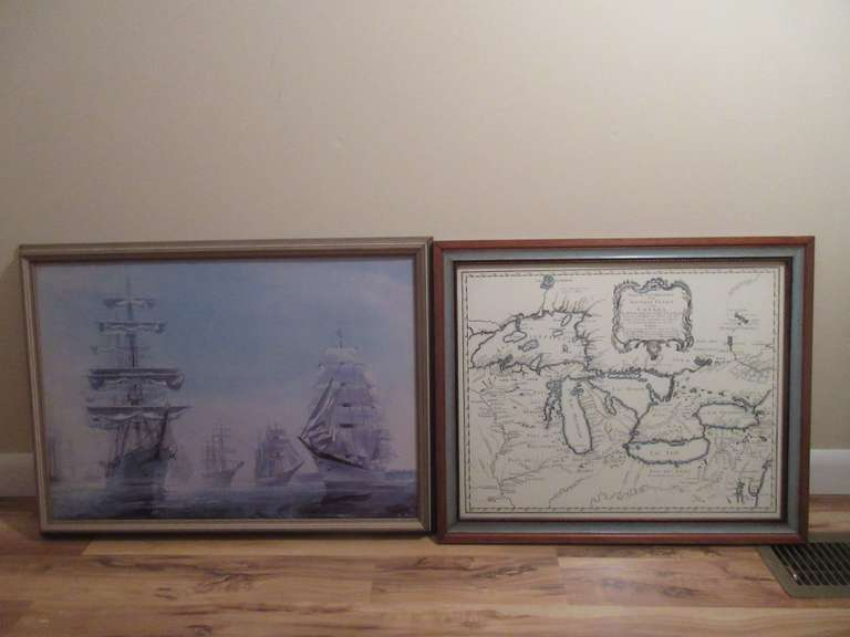 "Picture of Ships in Newport Harbor in 1976 in 26"" x 19"" Frame and a Reproduction Great Lakes Print From 1755 in French in a 22"" x 19"" Frame"
