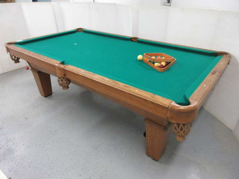 "Olhausen 'The Best in Billiards' Slate Top Oak Pool Table with (2)-Triangles and Balls, Leather Pockets, 98"" x 54"", Excellent Condition.  NOTE:  Bring your own help to get out of the basement!"