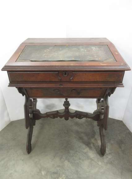 Old Writing Wood Desk with Intricate Carvings