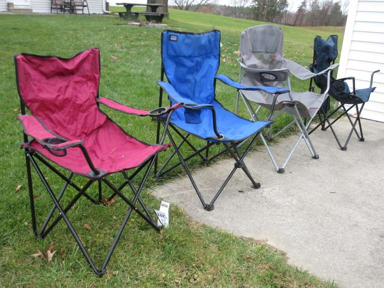 (4)-Portable Fold Up Chairs (Two Have Bags)