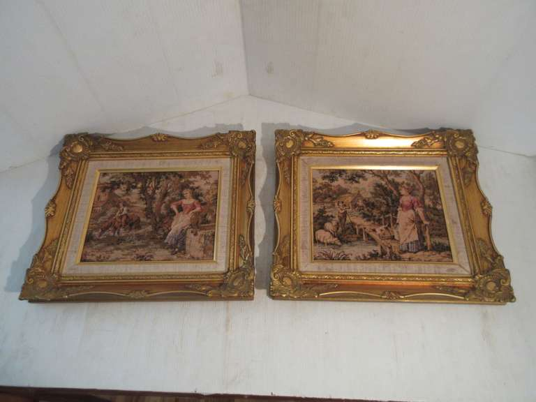 "Pair of French Style Tapestry Prints in Ornate Frames, 15 1/2"" x 13 1/2"""