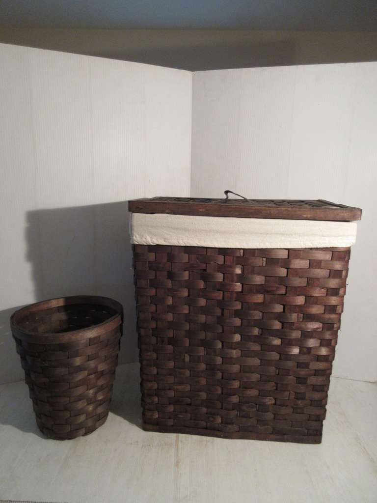 "Woven Rush Clothes Hamper with Waste Basket, 19"" x 12"" x 22"" High"