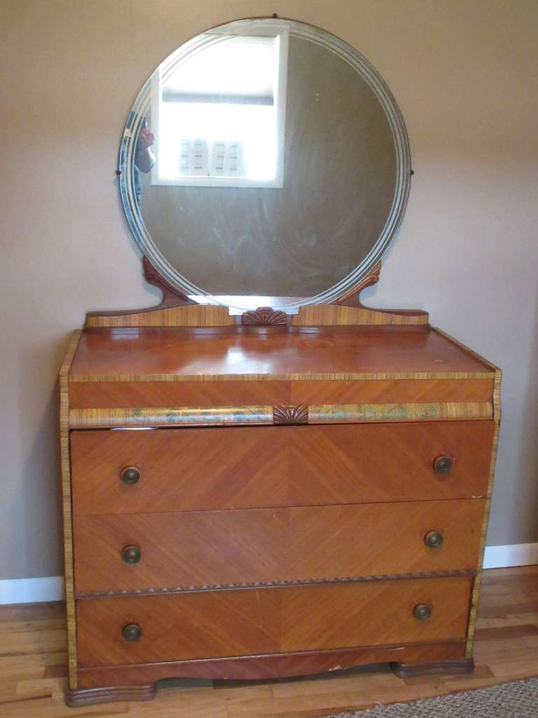 "Art Deco Dresser with Mirror, 45"" x 20"" x 72"" High.  Has a 2"" flaw on top where something spilled and some veneer damage."