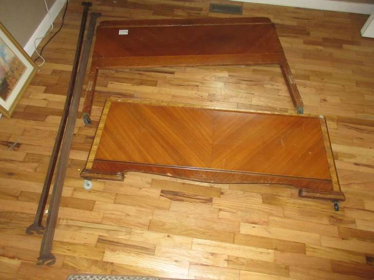 "Art Deco Full Size Bed Frame, Some Veneer Damage, 56"" Wide x 42"" High"