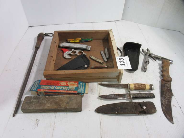 Various Knives, Honing Stones and Box Cutter