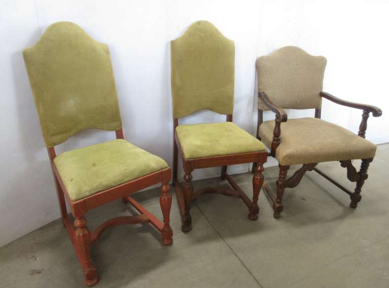 "(3) Older Project Wood Chairs: 2- Upholstered Accent Dining Room Chairs, Stained, Solid, 18""W x 19 1/2""D x 41 1/2""H; 1- Upholstered Arm Chair, Needs Reconditioned, 23 1/2""W x 25""D x 35""H"