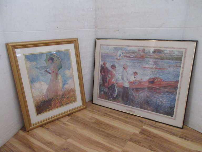"(2)-Reproduction Prints, One Marked Oarsman at Chatou by Renoir (28"" x 22"") and (18"" x 22"")"