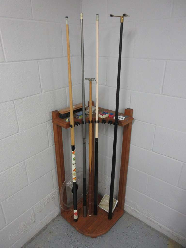 Oak Pool Stick Holder with Sticks, Etc.