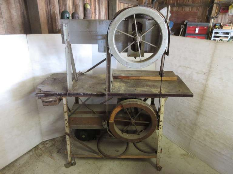 "Old Band Saw with Extra Blades, 51"" Wide x 19"" x 58"" High"