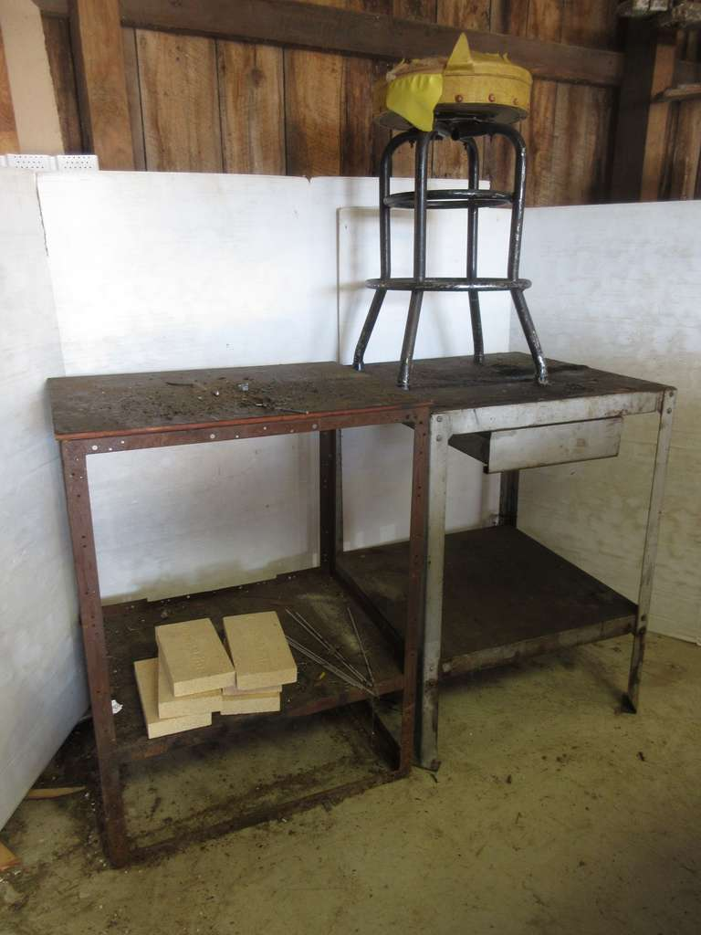 (2)-Metal Shop Tables and (1)-Old Barstool