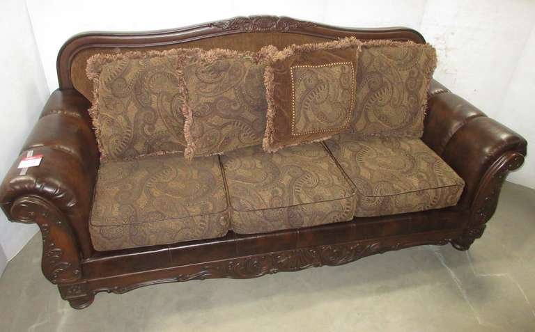 Brown Fabric Sofa, Wood and Durablend Leather, Have Paisley Print Cushions, Has an Extra Small Throw Pillow, Matches Lot No. 35