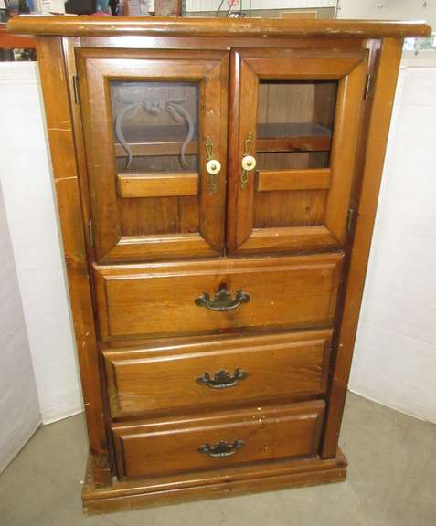 Three-Drawer and Two-Door Solid Wood Cabinet