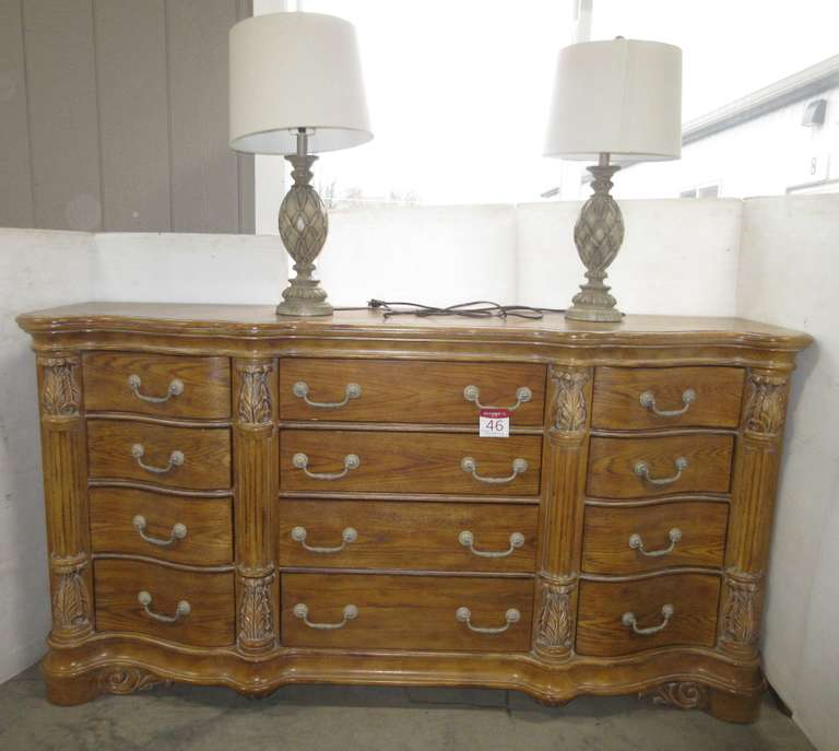 Ornate Dresser with (2) Lamps, Matches Lot No. 47
