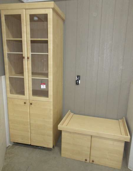 "(2) Maple Cabinets, 36"" x 24"" x 21""H; Maple Cabinet with Glass Door, 30""W x 24""D x 7'H"