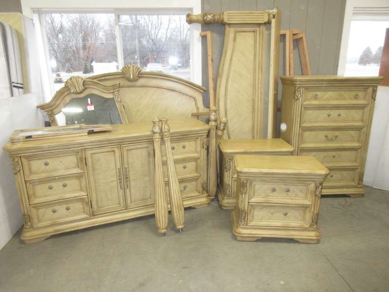 "Bedroom Set on Pedestal, King Size, Includes: Headboard and Footboard; Long Dresser, 72""W x 20""D x 36""H; Tall Dresser, 38""W x 18""D x 53""H; (2) Nightstands, 30""W x 17""D x 26""H; Mirror"