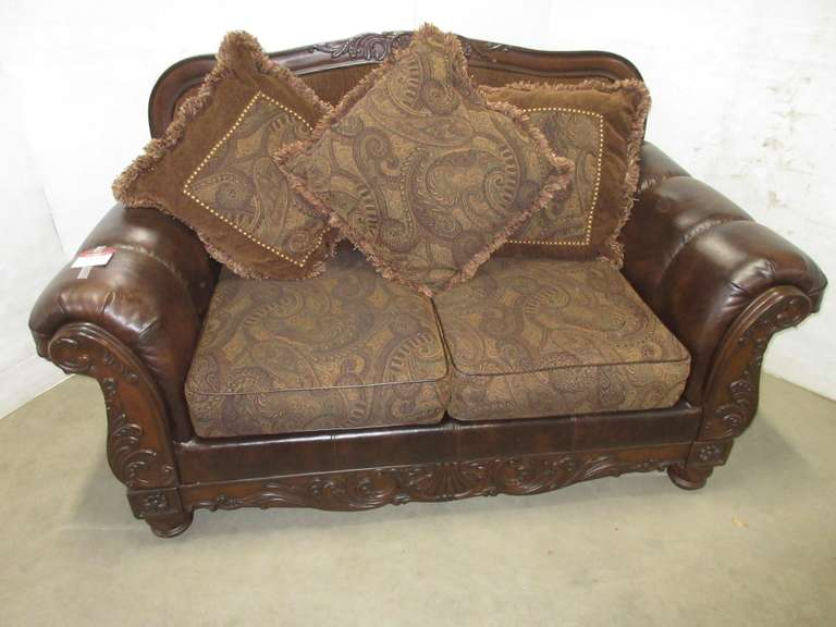 Brown Fabric Loveseat, Wood and Durablend Leather, Have Paisley Print Cushions, Matches Lot No. 34