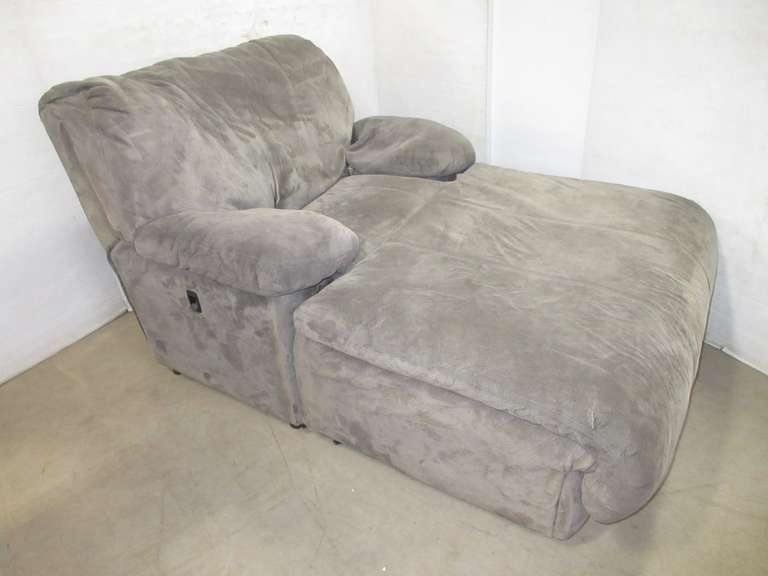 Large Microfiber Chaise Lounge with Adjustable Back