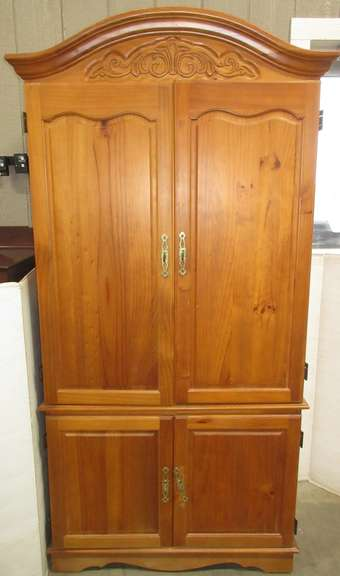 Large Wood Armoire with Four Doors and Interior Drawers