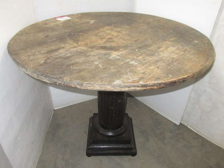Antique Round Wood Table with Checkerboard Painted in Center on Pedestal Base