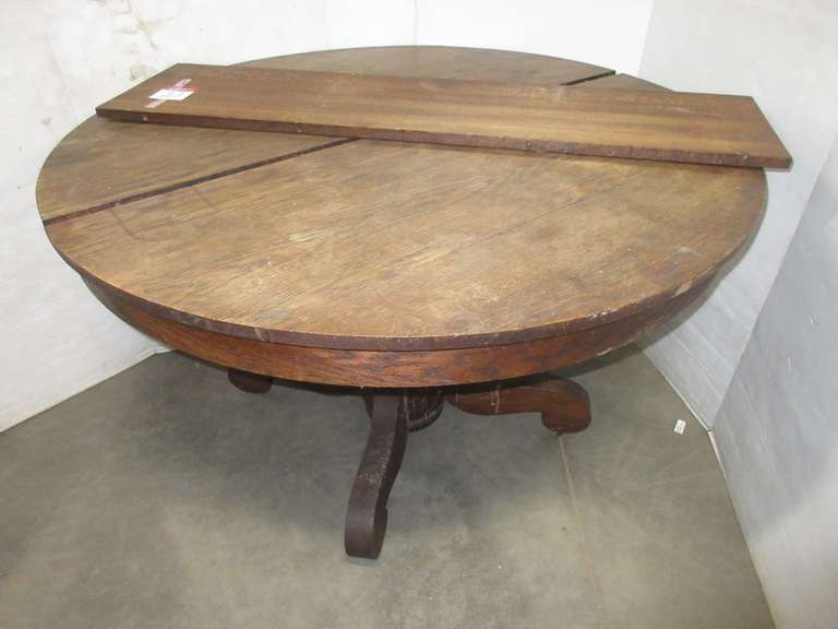 Solid Oak Dining Table with Leaf