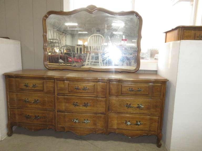 Nine-Drawer Wood Dresser with Attachable Mirror, Matches Lot No. 8
