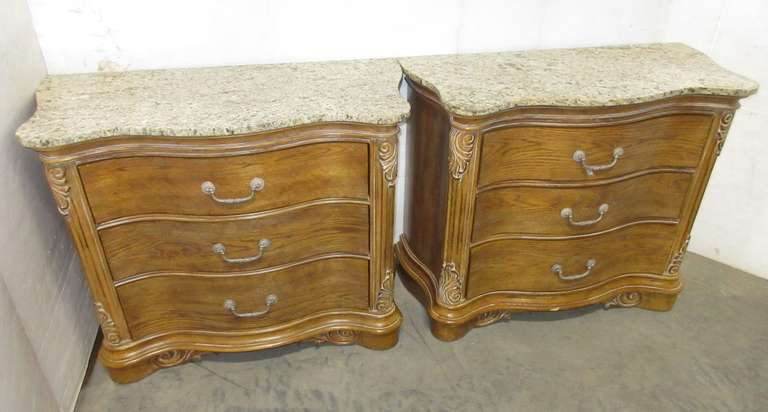 Ornate Set of Nightstands with Granite Tops, Matches Lot No. 46