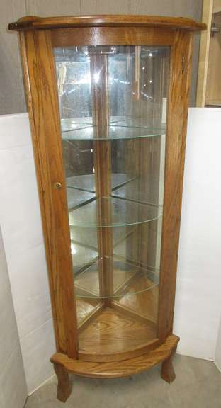 Oak Corner Cabinet with Mirrored Back