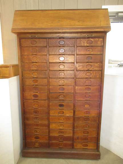 Large Oak Roll Top Lawyers Cabinet with Multiple Drawers