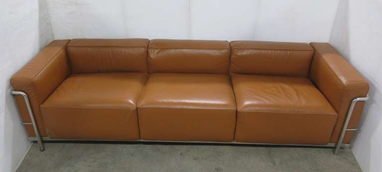 Mid-Century Modern Burnt Orange Leather Le Corbusier Style Three-Seater, All-Metal Chrome Framed Sofa Couch