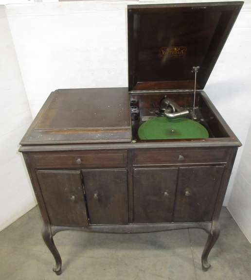 Antique Victrola Talking Machine Record Player, Bottom Filled with Cabinets