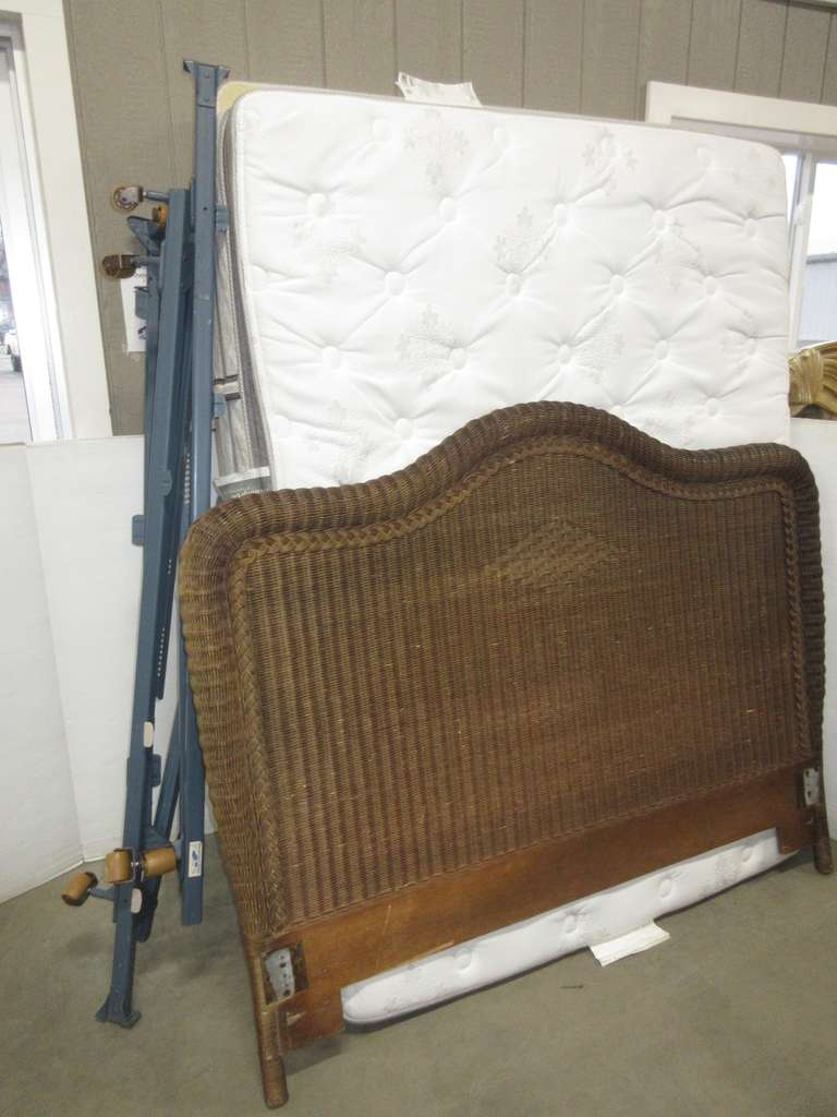 Wicker Bed Frame, Headboard, Box Spring, and Mattress