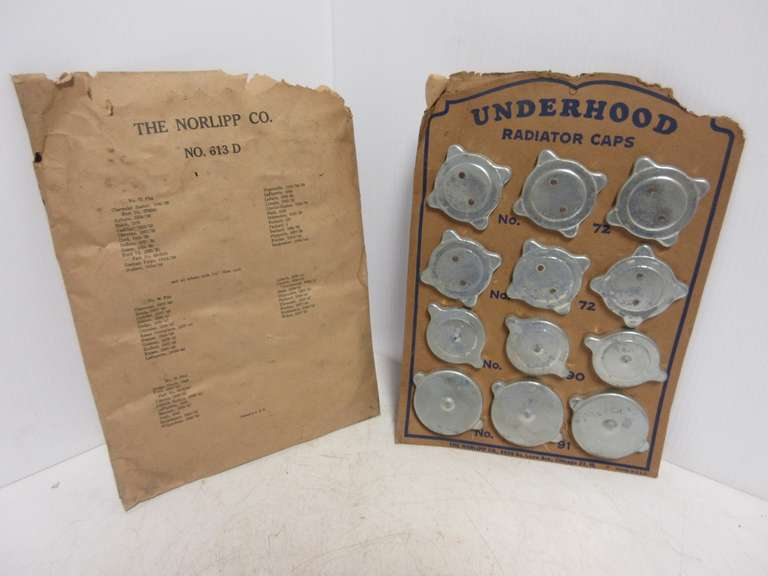 Norlipp Radiator Cap Display, Includes All (12) Radiator Caps, Parts Date Back to 1932 Model Year Vehicles