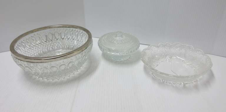 (3) Antique Crystal Serving Dishes