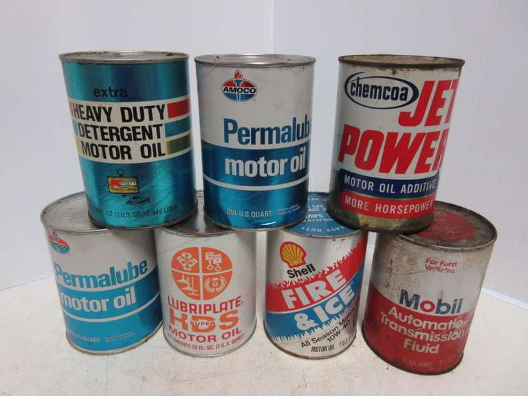 (7) Old One-Quart Oil Cans